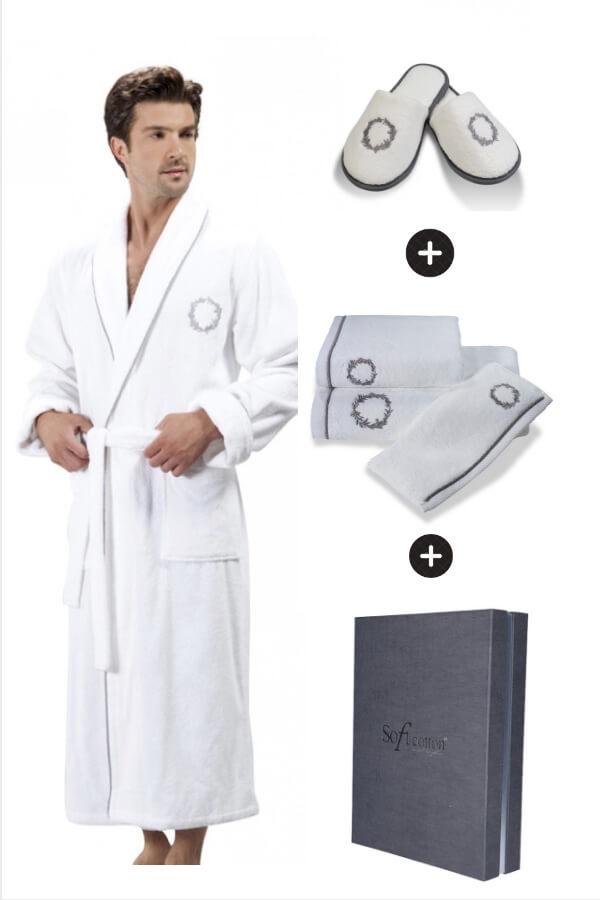 Soft Cotton Luxusní pánský župan SEHZADE s ručníkem a papučkami v dárkovém balení Bílá / stříbrná výšivka L + papučky (42/44) + ručník + box