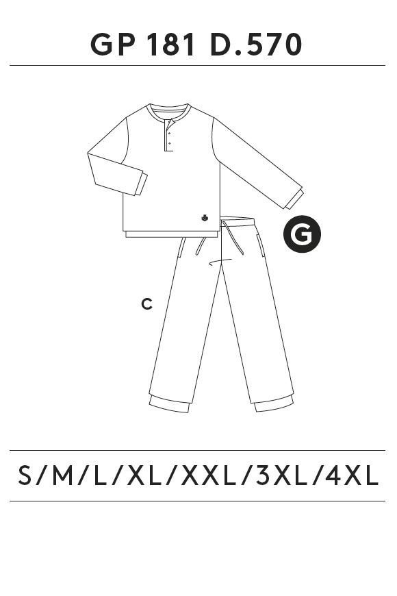 GUASCH Pánské pyžamo DANIELE tmavě modrá XL