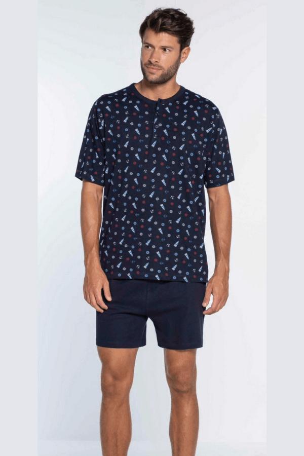 GUASCH Pánské pyžamo AMANDO Tmavě modrá XXL