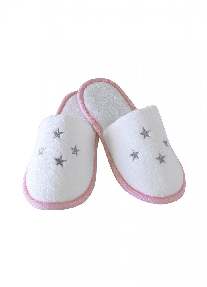 Soft Cotton Dětské pantofle BALLERINA. Dětské pantofle BALLERINA z jemné froté bavlny, zdobené vyšitými hvězdičkami. Pro holky od 2 až 10 let. 4 roky (20 cm) Bílá / růžová výšivka