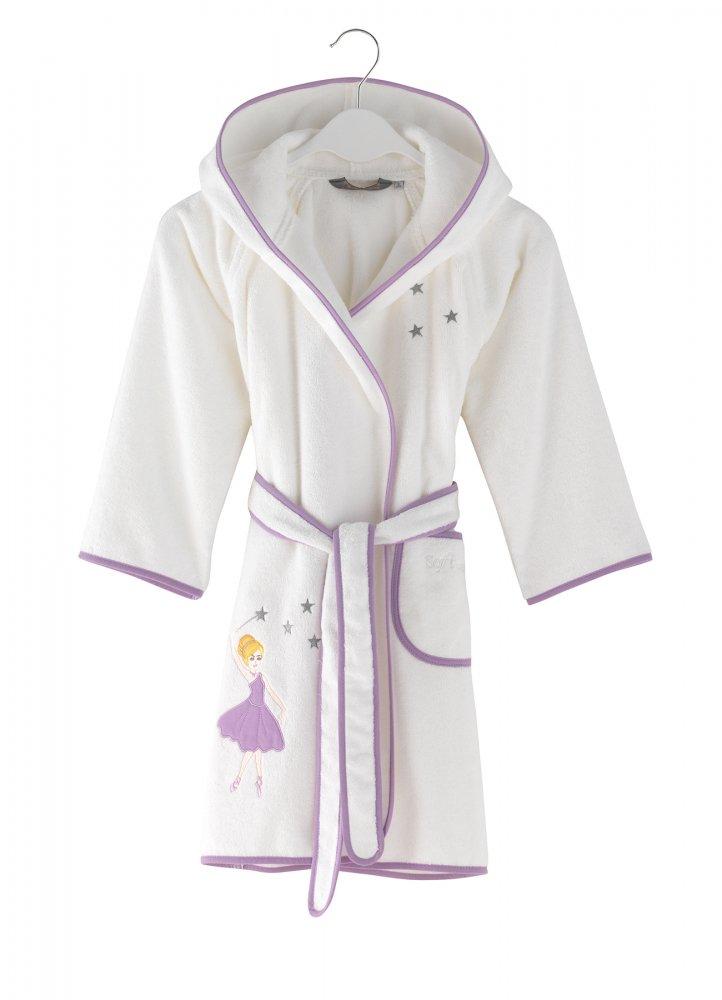 Soft Cotton Detský župan BALLERINA s kapucňou v darčekovom balení. Župan má antibakteriálnu ochranu a je v darčekovom balení. Biela / lila výšivka 2 roky (vel.92 cm)