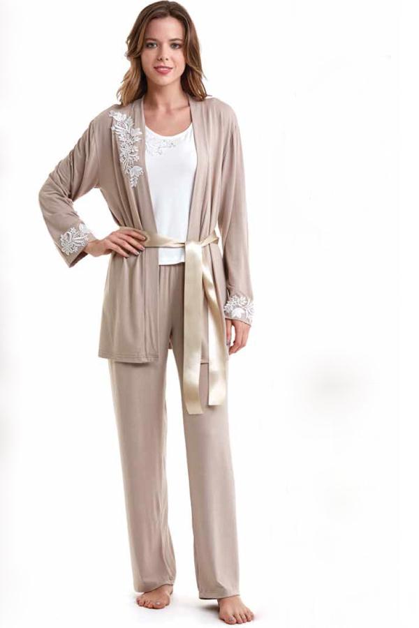 Luisa Moretti Dámské bambusové pyžamo CARINA s županem béžová S