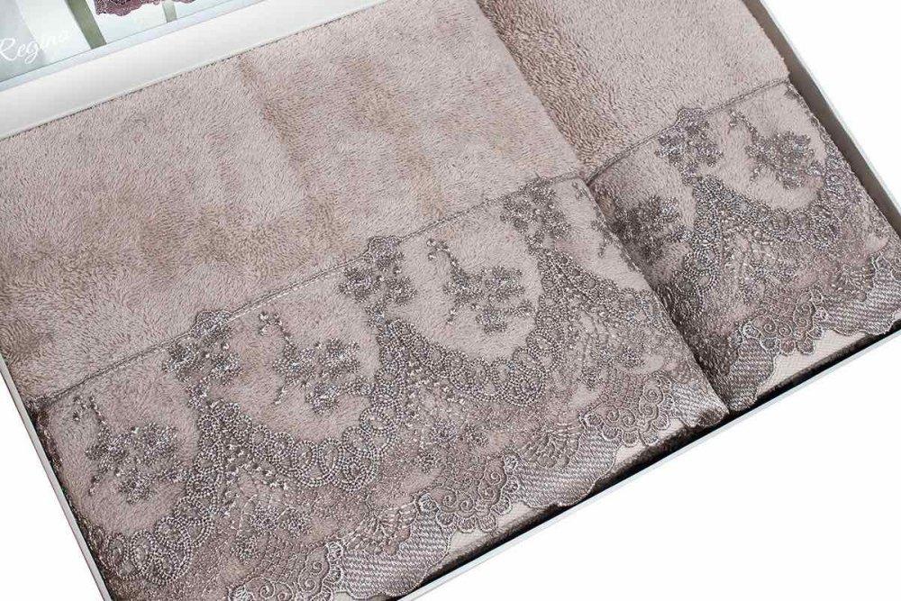 Soft Cotton Osuška a ručník REGINA v dárkovém balení, Sada (50x100cm,  75x150cm) smetanová