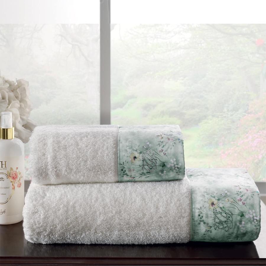 Soft Cotton Osuška a ručník POLINA v dárkovém balení Sada (50x100cm,  75x150cm) smetanová