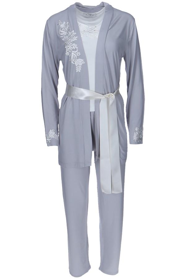 Luisa Moretti Dámské bambusové pyžamo CARINA s županem. Italské luxusní pyžamo s županem CARINA, vyrobené ze 100% bambusového vlákna v dárkovém balení.