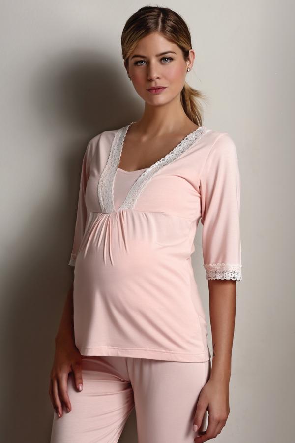 Luisa Moretti Tehotenské pyžamo ANGELA. Tehotenské pyžamo ANGELA je vyrobené zo 100% bambusového vlákna, ktoré je veľmi príjemné na pokožke a vhodné aj pre alergikov. Lososová L