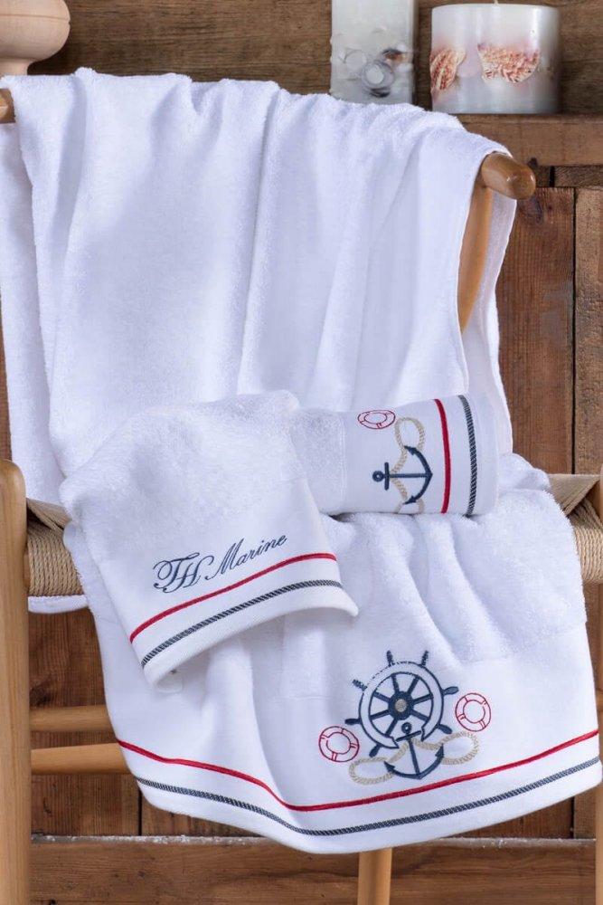 Soft Cotton Osuška a ručníky NAVY v dárkovém balení bílá