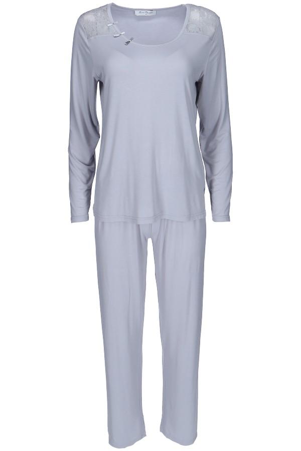 Luisa Moretti Dámské bambusové pyžamo PAOLA stříbrná xl