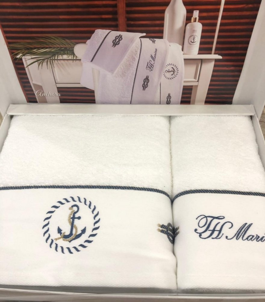 Soft Cotton Osuška a ručník ANCHORA v dárkovém balení + aroma spray tmavě modrá