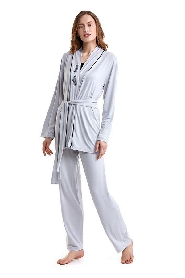 Luisa Moretti Dámské bambusové pyžamo GABRIELLE s županem stříbrná L