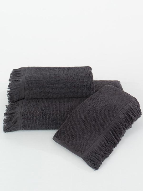 Soft Cotton Malý ručník FRINGE 32x50 cm černá antracit