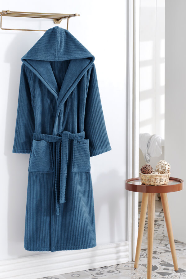 Soft Cotton Pánský župan STRIPE s kapucí modrá S