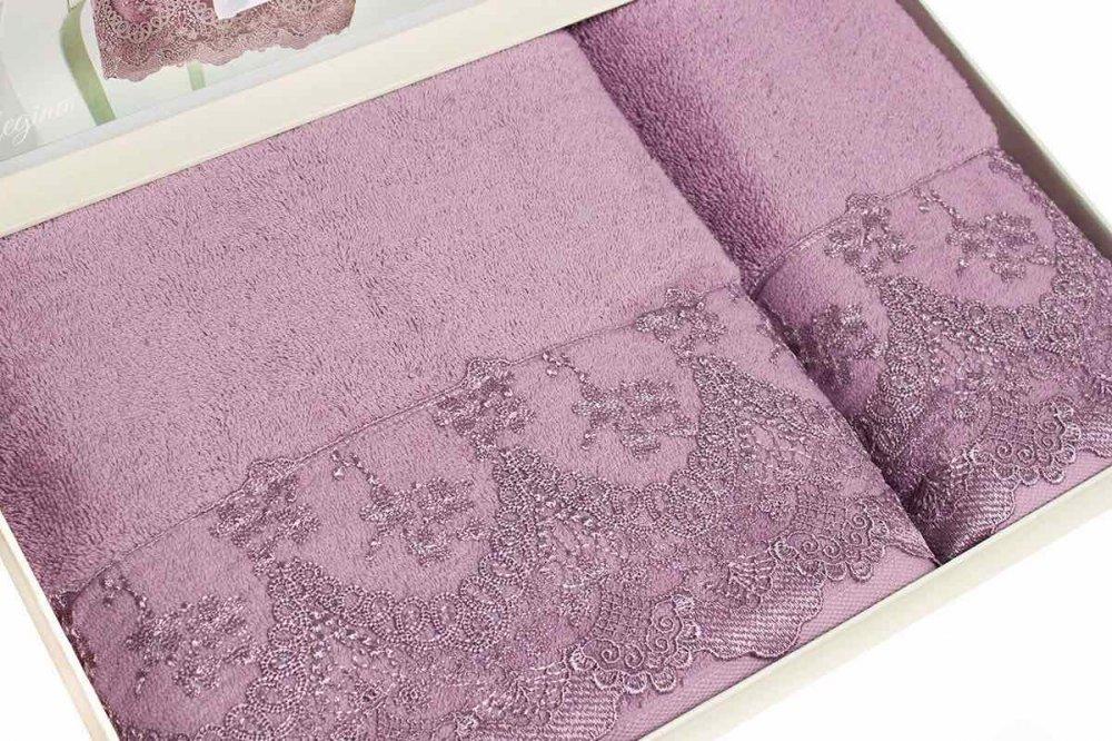Soft Cotton Osuška a ručník REGINA v dárkovém balení bordo