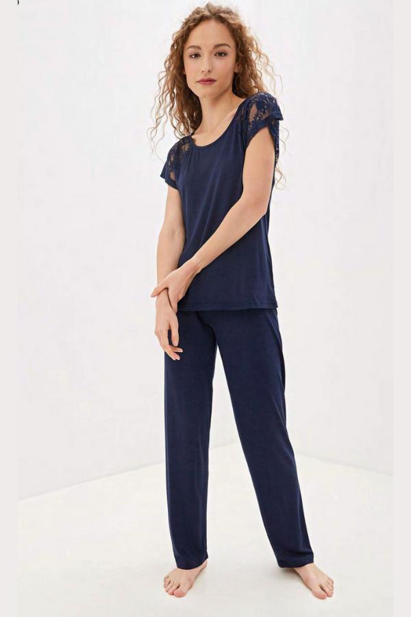 Luisa Moretti Dámské bambusové pyžamo SUSANA Tmavě modrá M