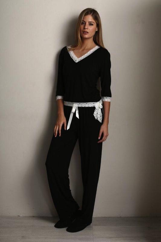 Luisa Moretti Dámské bambusové pyžamo ROZALIE černá S