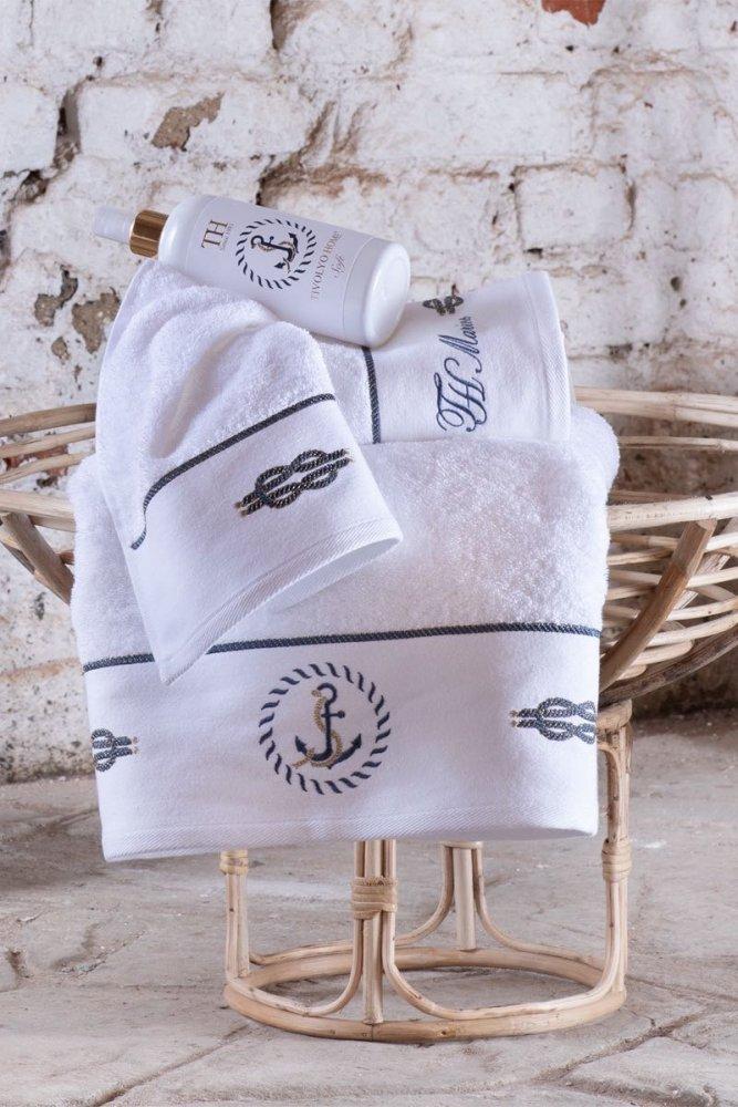 Soft Cotton Osuška a ručník ANCHORA v dárkovém balení, Sada (30x50,  50x100,  75x150, spray) bílá