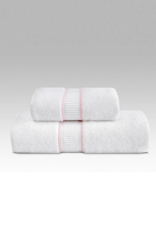 Soft Cotton Uterák PREMIUM 55x100 cm. Rada uterákov PREMIUM má skvelé užitočné vlastnosti: výborne saje vlhkosť, rýchlo schne, je jemný a na pokožku pôsobí upokojujúco. Biela / ružová výšivka