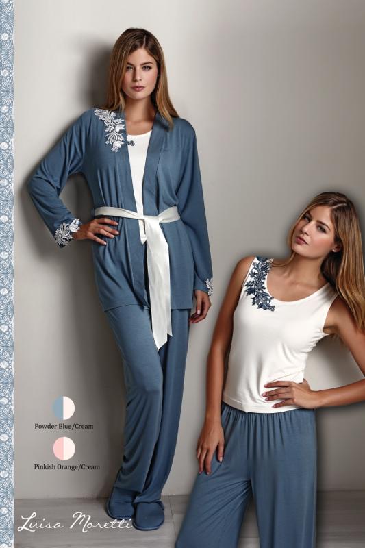 Luisa Moretti Dámské bambusové pyžamo CARINA s županem borůvková M