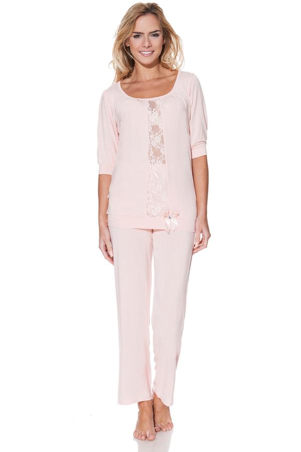 Luisa Moretti Dámske bambusové pyžamo SERENA. Talianske dámske pyžamo SERENA s nápaditou čipkou, vyrobené zo 100% bambusového vlákna, balené v darčekovom boxe. Ružová L