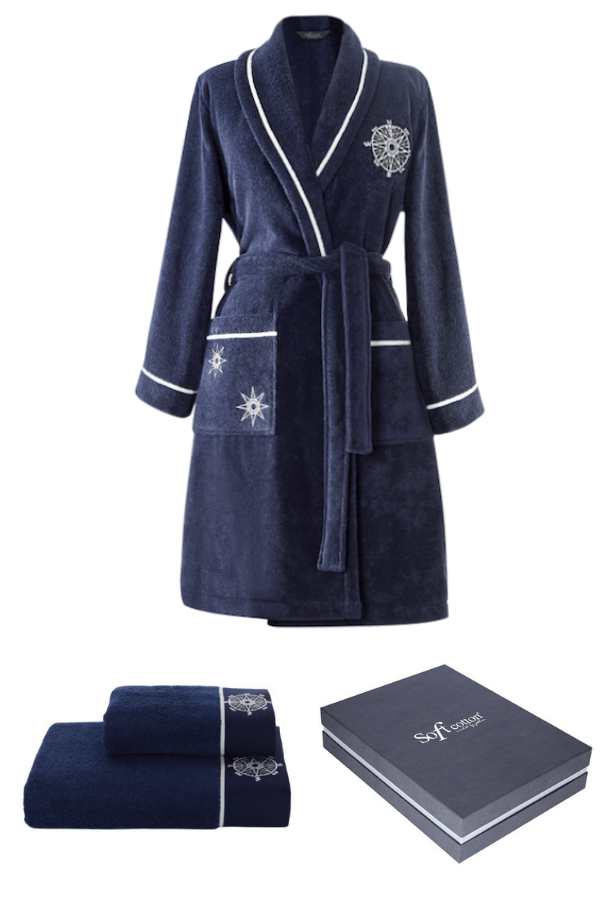 Soft Cotton Darčekové balenie županu, uteráku a osušky MARINE LADY Tmavo modrá S