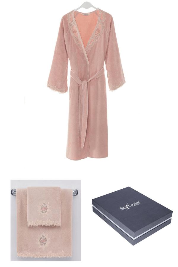 Soft Cotton Dárkové balení županu, ručníku a osušky DESTAN Starorůžová S