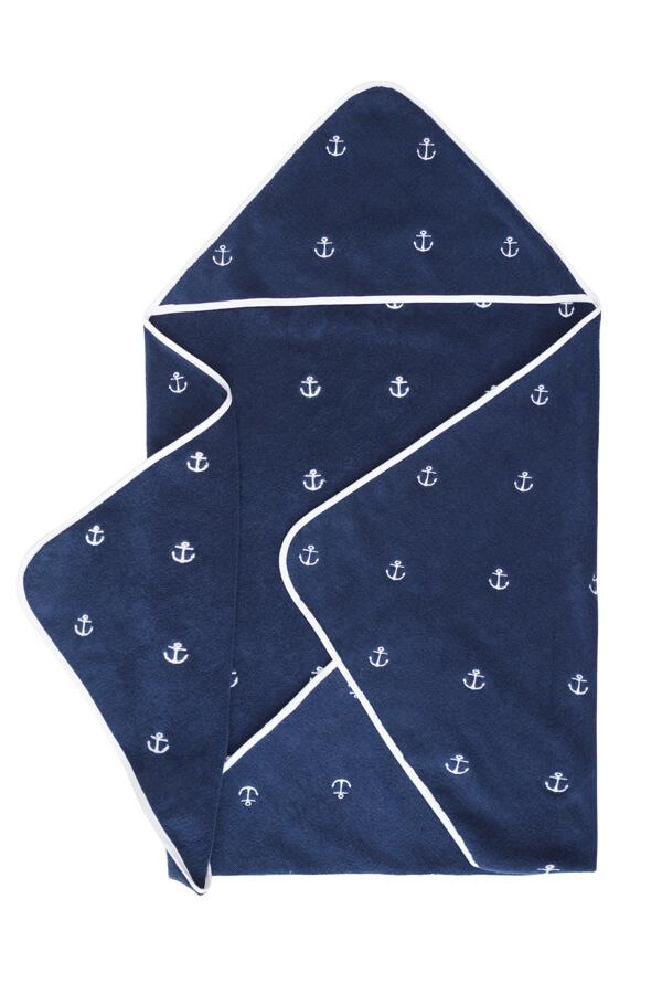 Soft Cotton Dětská osuška MARINE KIDS 80x80 cm. Rozměry jsou 80x80 cm, gramáž této bavlny činí 420 g/m2. Vybírat můžete mezi tmavomodrou osuškou s vyšívanými bílými malými kotvami nebo bílou osuškou, kterou zdobí malé kotvičky v červenomodrém provedení.
