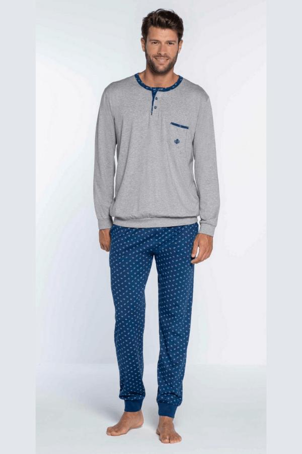 GUASCH Pánské pyžamo CALEB Světle šedá M