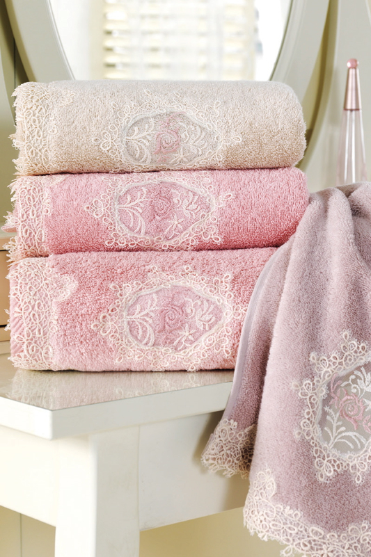 Soft Cotton Dárkové balení županu, ručníku a osušky DESTAN Pudrová L