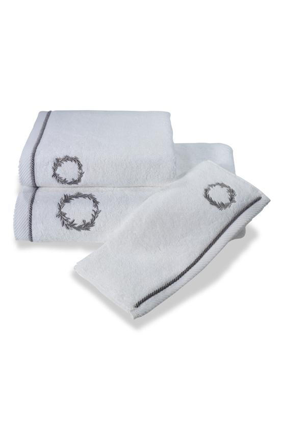 Soft Cotton Ručník SEHZADE 50x100 cm. Luxusní froté ručníky SEHZADE 50x100 cm s vyšitým erbem v bílé nebo smetanové barvě, 100% česaná bavlna. Bílá / stříbrná výšivka