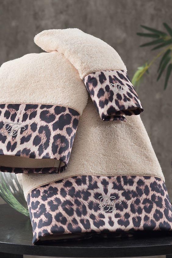 Soft Cotton Osuška a ručník LEOPARD v dárkovém balení + aroma spray béžová