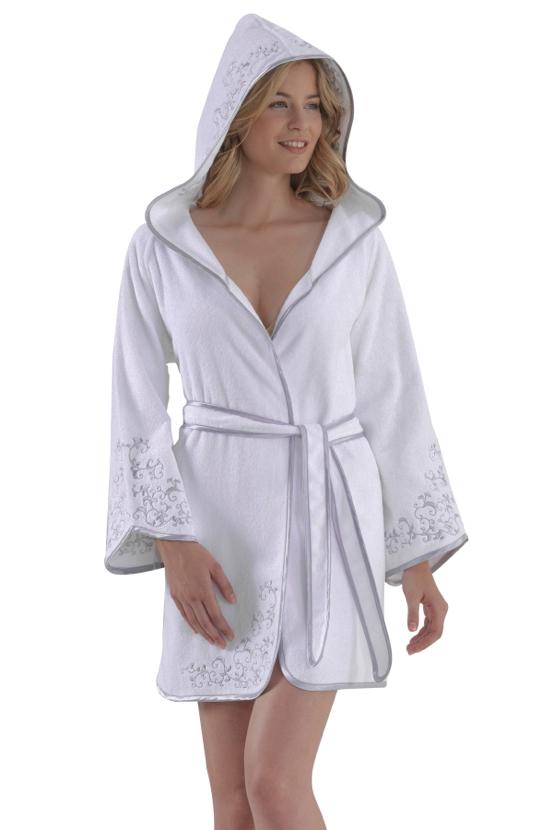 Soft Cotton Krátký dámský župan RENGIN s kapucí bílá/šedá L
