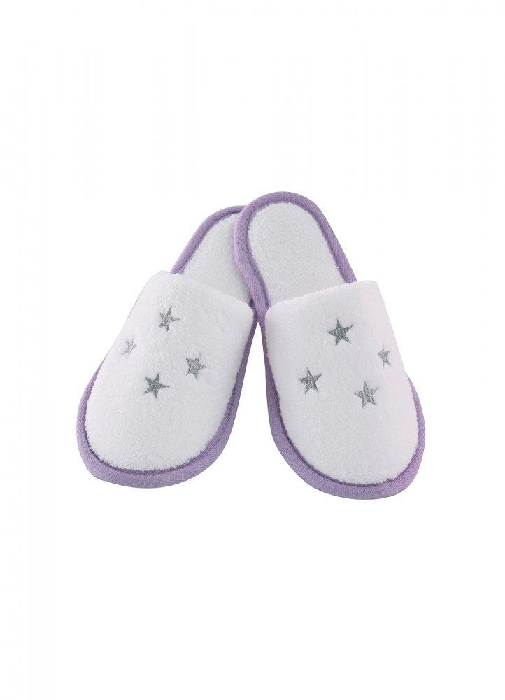 Soft Cotton Dětské pantofle BALLERINA. Dětské pantofle BALLERINA z jemné froté bavlny, zdobené vyšitými hvězdičkami. Pro holky od 2 až 10 let. 10 let (25 cm) Bílá / lila výšivka