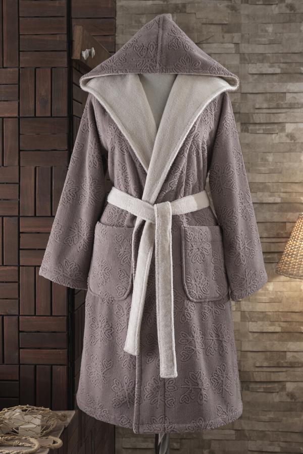 Soft Cotton Dámský krátký župan LEAF s kapucí + pantofle + ručník + dárkový box L