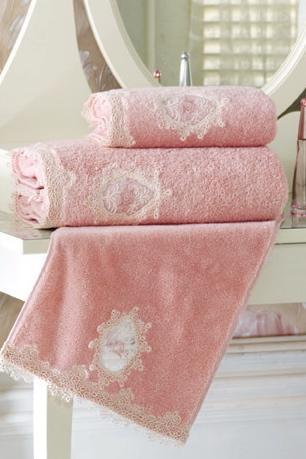 Soft Cotton Osuška DESTAN s krajkou 85x150cm Pudrová