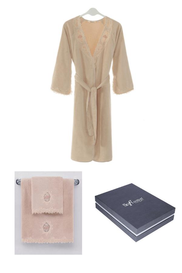 Soft Cotton Dárkové balení županu, ručníku a osušky DESTAN Pudrová S
