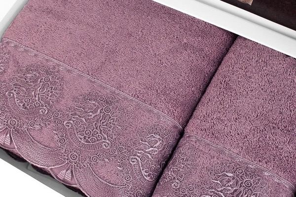 Soft Cotton Osuška a ručník DIAMOND v dárkovém balení fialová/lila