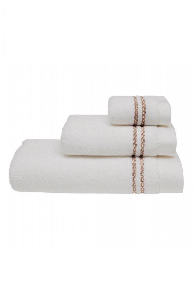 Levně Malý ručník CHAINE 30 x 50 cm Bílá / béžová výšivka,Malý ručník CHAINE 30 x 50 cm Bílá / béžová výšivka
