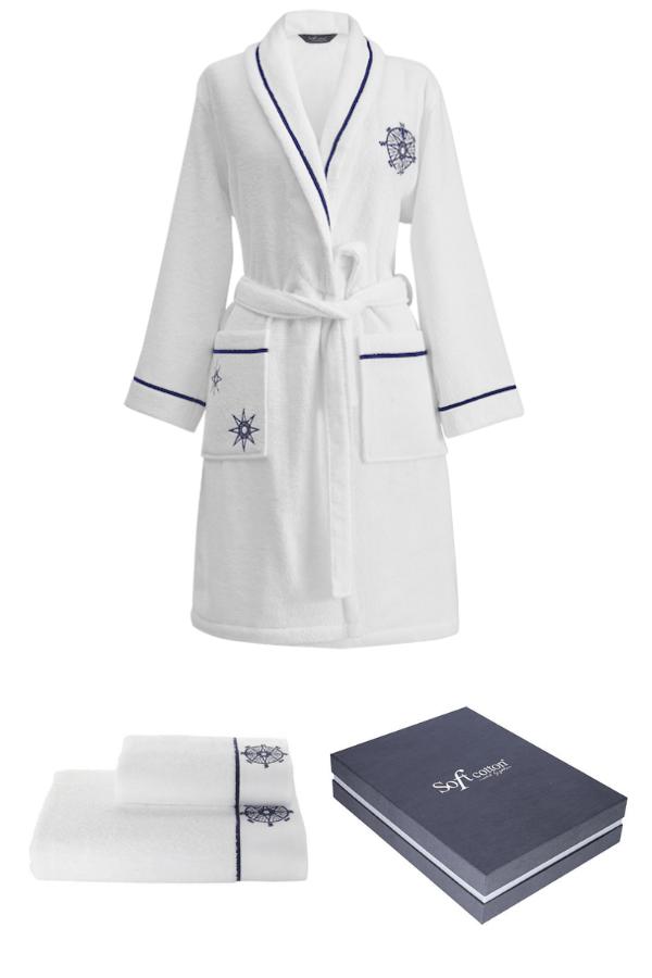 Soft Cotton Darčekové balenie županu, uteráku a osušky MARINE LADY Biela S