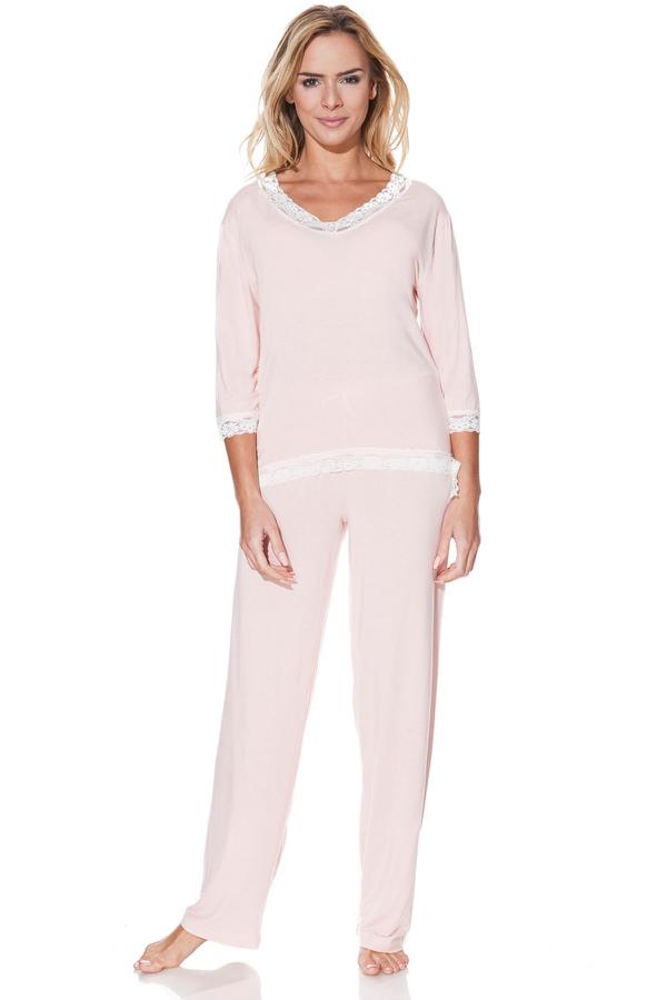 Levně Dámské bambusové pyžamo ROZALIE Růžová XL,Dámské bambusové pyžamo ROZALIE Růžová XL