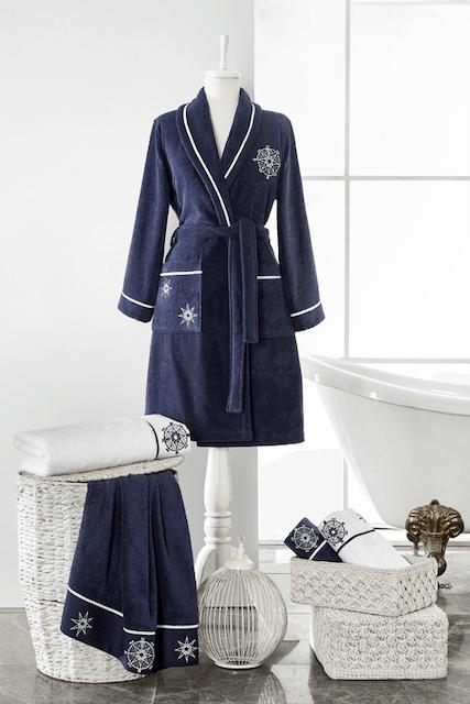 Soft Cotton Dámský krátký župan MARINE LADY Tmavě modrá XL