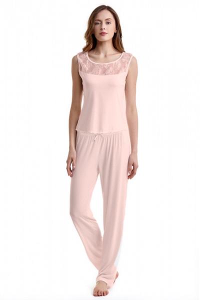 Luisa Moretti Dámske pyžamo bambusové AGNES. Očarujúce dvojdielne pyžamo AGNES v krémovej farbe je vyrobené z príjemného materiálu, ktorým je 100% bambusové vlákno. Ružová XL