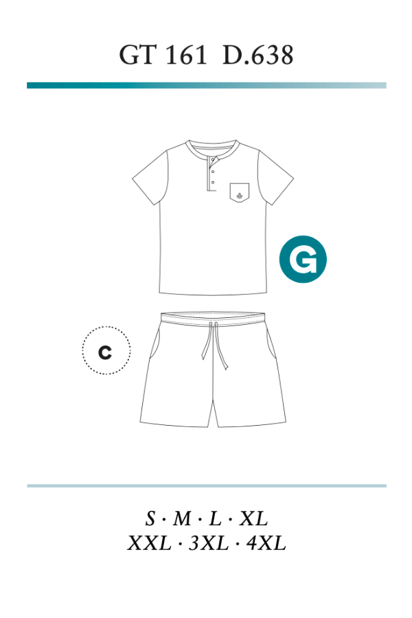 GUASCH Pánské pyžamo FABIO Světle šedá XL