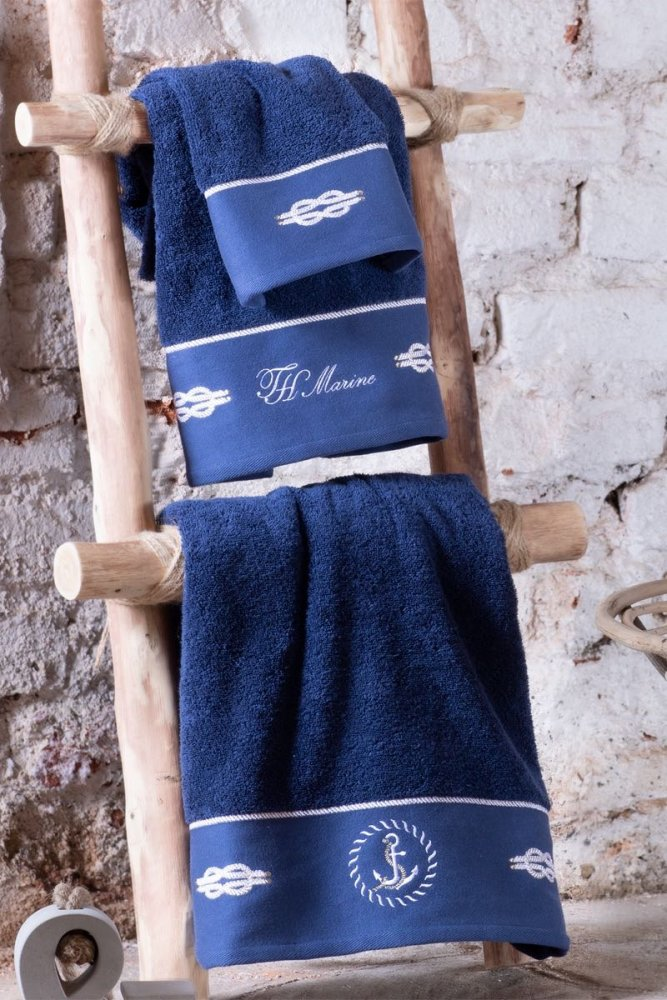Soft Cotton Osuška a ručník ANCHORA v dárkovém balení, Sada (30x50,  50x100,  75x150, spray) tmavě modrá
