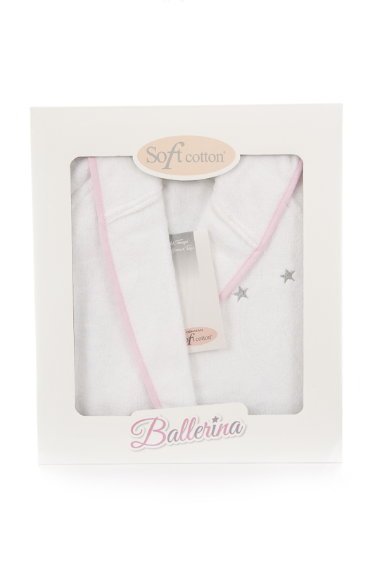 Soft Cotton Dětský župan BALLERINA s kapucí v dárkovém balení