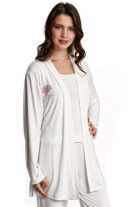 Luisa Moretti Dámske bambusové pyžamo LUCIA s županom. Kvalitný set pyžama a županu zo 100% bambusového vlákna s antibakteriálnymi a hypoalergennými vlastnosťami. M Krémová