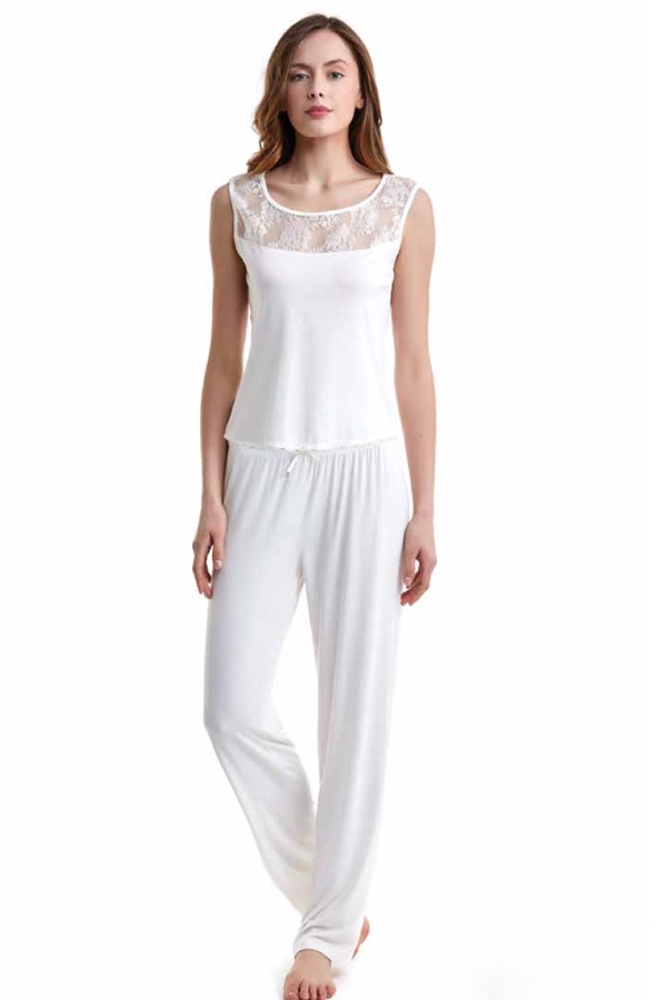Luisa Moretti Dámské pyžamo bambusové AGNES krémová XL