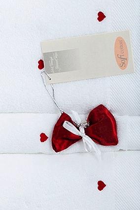 Soft Cotton Osuška MICRO LOVE 75x150 cm bílá/růžová
