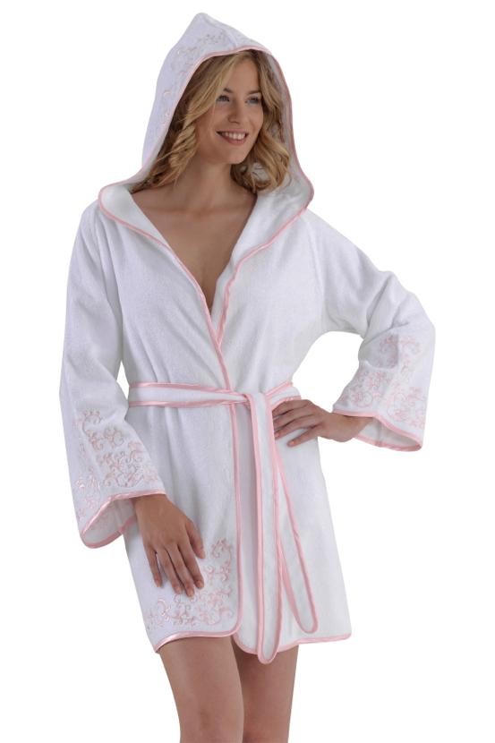 Soft Cotton Krátký dámský župan RENGIN s kapucí bílá/růžová L