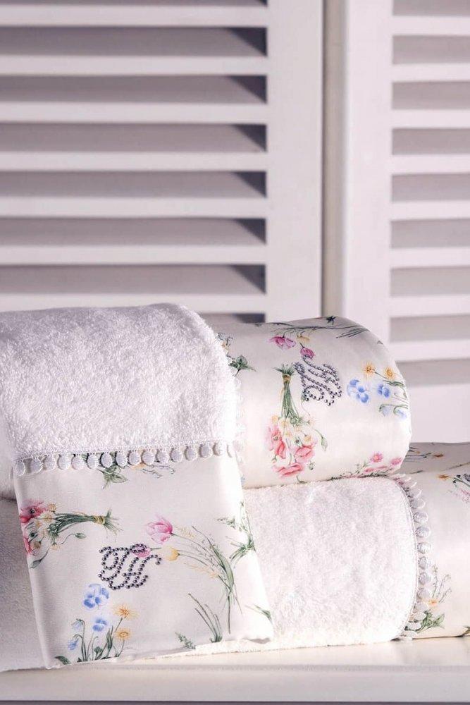 Soft Cotton Osuška a ručník ELENORE v dárkovém balení + aroma spray smetanová