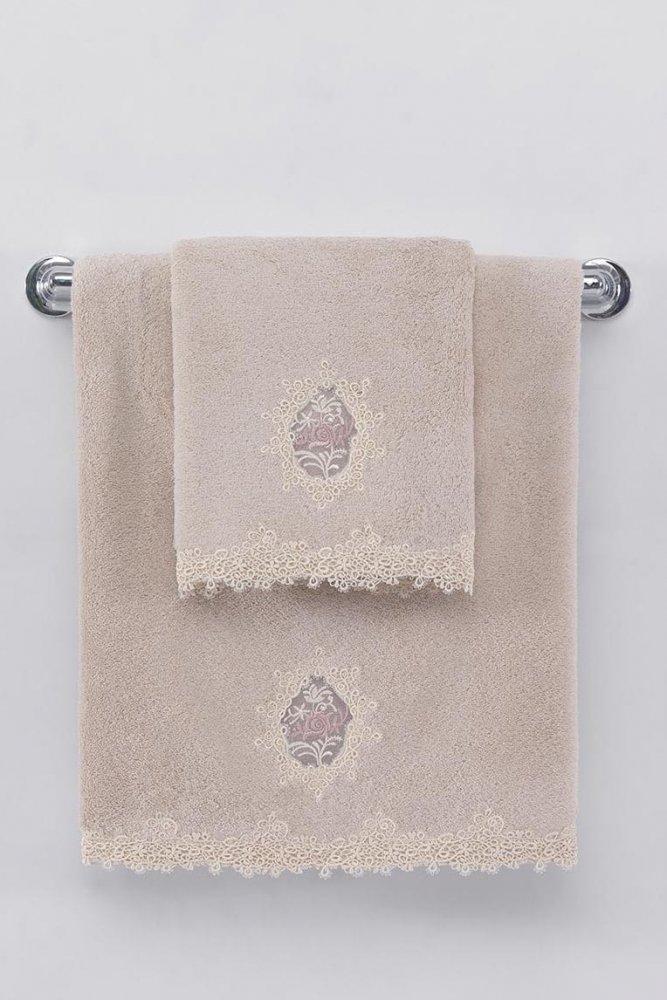 Soft Cotton Ručník DESTAN s krajkou 50x100cm pudrová